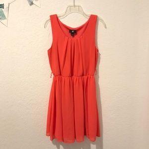IZ Byer dress papaya salmon sleeveless summer L